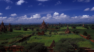 Aerial view of Bagan temples